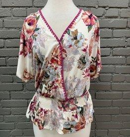 Top Iris Floral Stitch Smock Waist Top