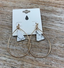 Jewelry Gold Hoops w/ White Stone Earrings