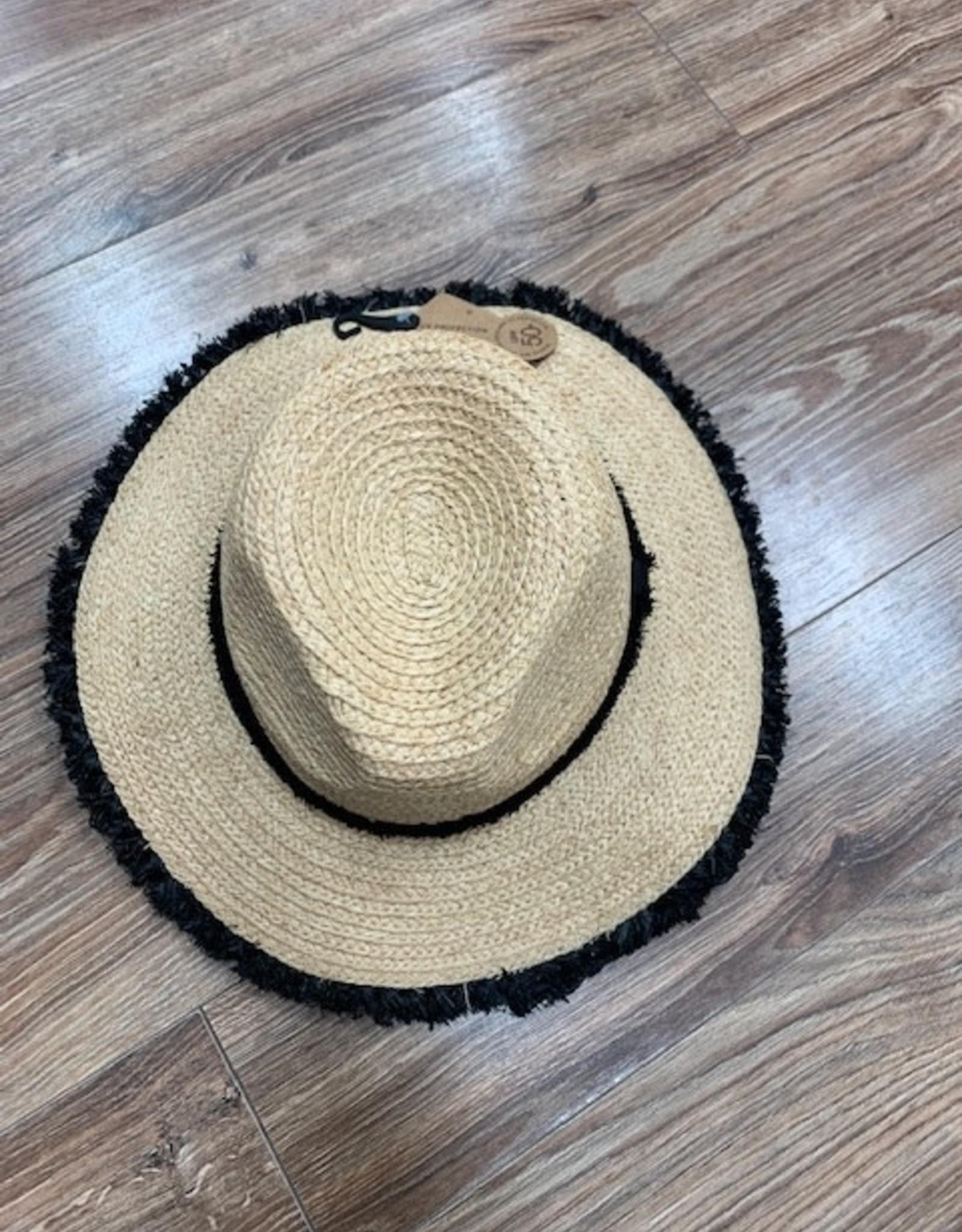 Hat Frayed Band Panama Hat