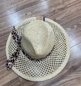 Hat Honeycomb Panama Hat w/ Leopard
