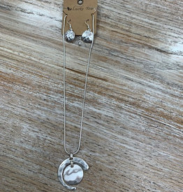 Jewelry Silver Circle Moon Necklace