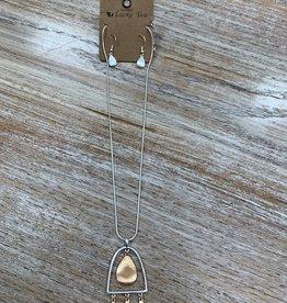 Jewelry Silver Stirrup Necklace w/ Gold
