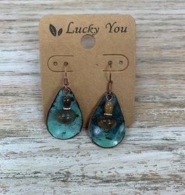 Jewelry Patina Teardrop Earrings w/ Beads