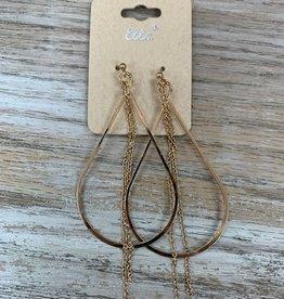 Jewelry Gold Teardrop Earrings w/ Chains