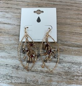 Jewelry Gold Teardrop Beaded Center Earrings