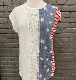 Top Liberty Stars Stripes Lace Top