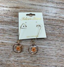 Jewelry Orange Flower Glass Earrings