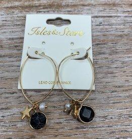 Jewelry Gold Hoops w/ Black Star Pearl