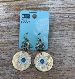 Jewelry Gold Discs w/ Flowers Earrings