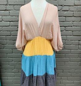 Dress Leona Colorblock Balloon Sleeve Dress