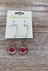 Jewelry Pink Flower Glass Earrings
