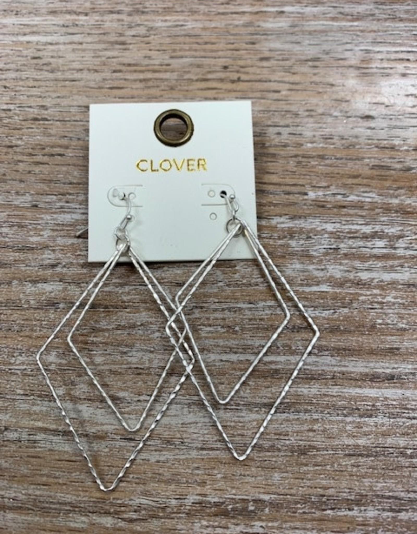 Jewelry Silver 2 Triangles Earrings