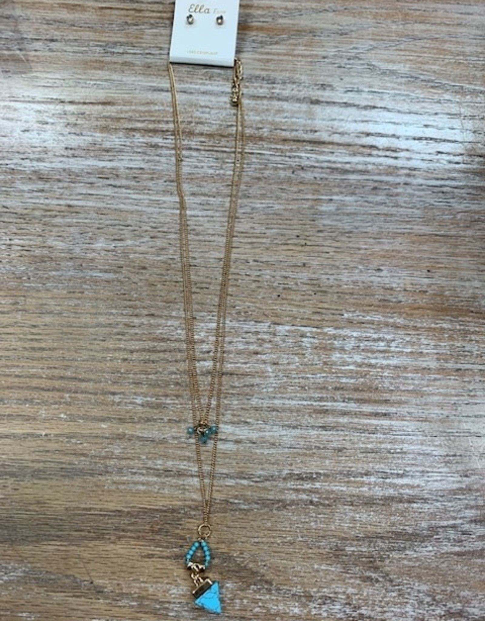 Jewelry Gold Double Chain Turquoise Beads Necklace