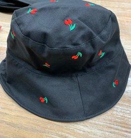 Hat Bucket Hat w/ Embroidered Cherries