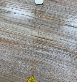 Jewelry Glass Yellow Flower Necklace