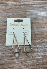 Jewelry Gold Triangle White Gem Earrings