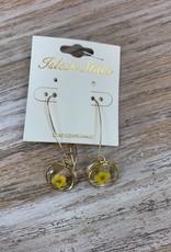 Jewelry Yellow Flower Glass Earrings