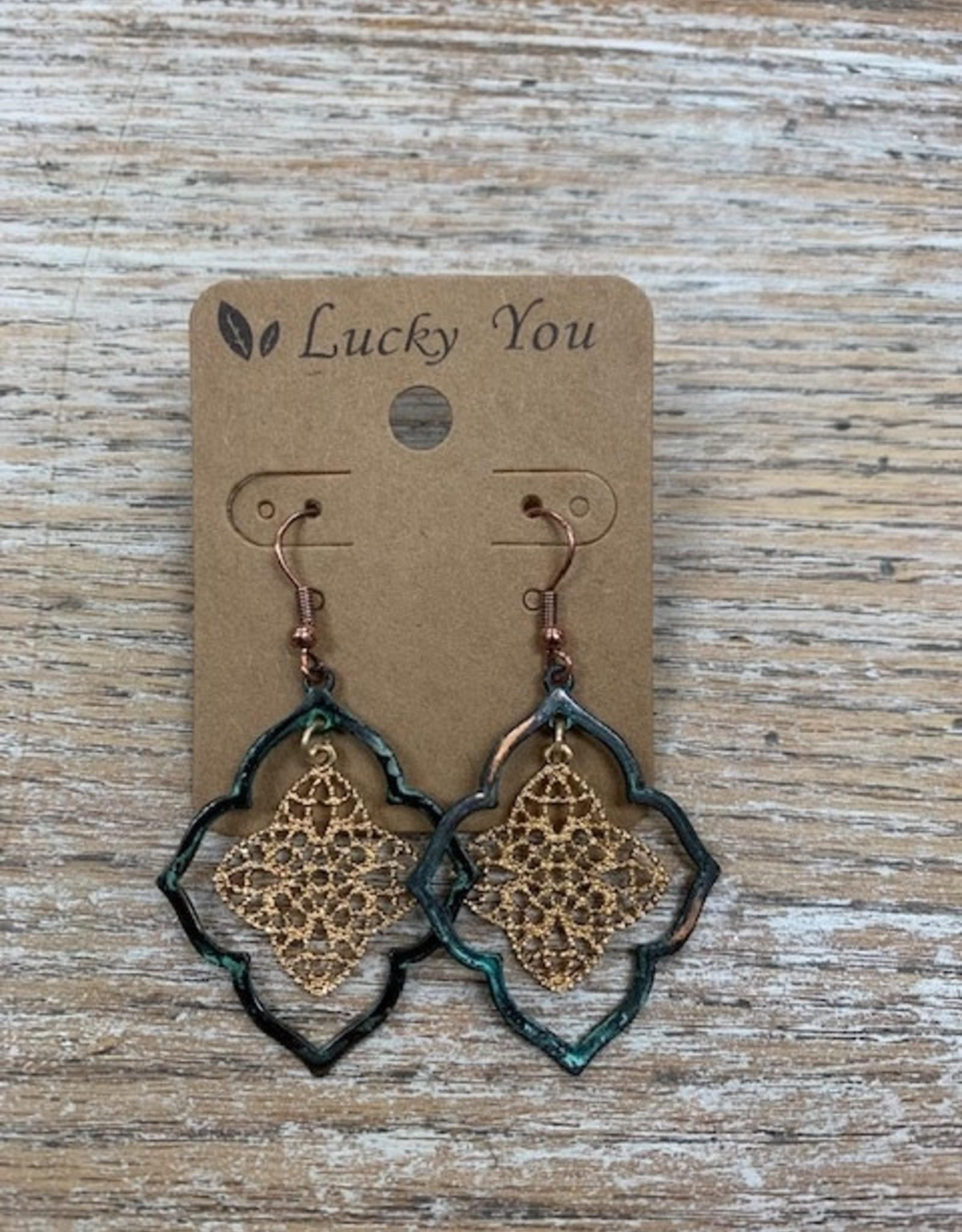 Jewelry Patina Gold Flowerish Earrings