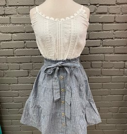 Dress Shirley White Navy Stripe Tie Dress