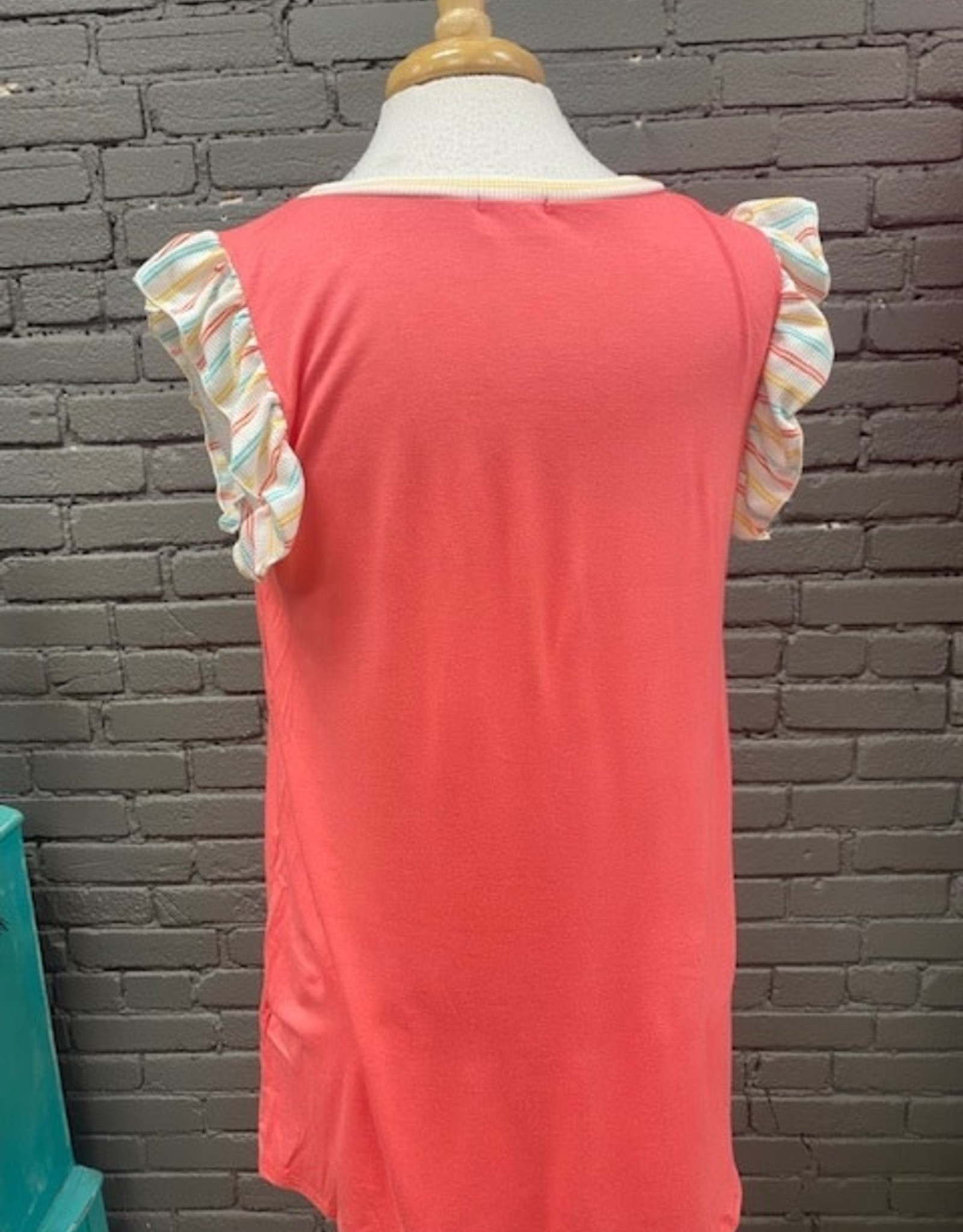 Top Diana Stripe Sleeve Coral Top