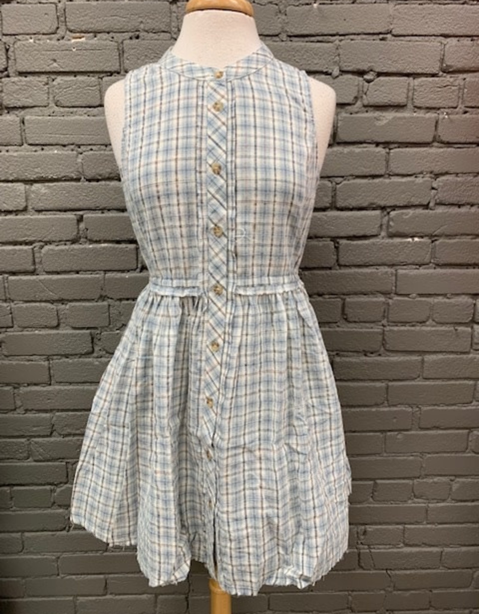 Dress Mildred Plaid Button Tie Dress