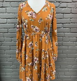 Dress Ester Floral Tiered LS Dress