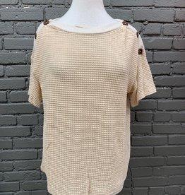 Shirt Helen Waffle Button Shoulder Top