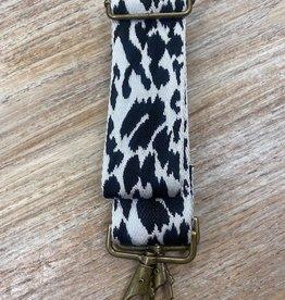 Bag Wide BlkWht Leopard Bag Strap