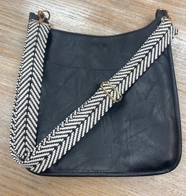 Bag BlkWht Woven Zigzag Bag Strap