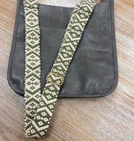 Bag Olive Cream Geo Woven Bag Strap