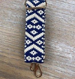 Bag Navy Cream Geo Woven Bag Strap