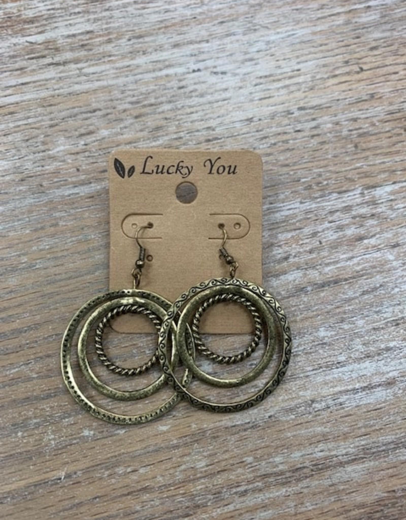 Jewelry Gold Multi Circle Design Earrings