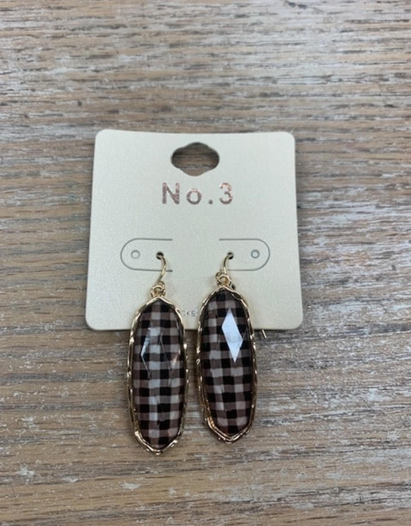 Jewelry Black Plaid Earrings
