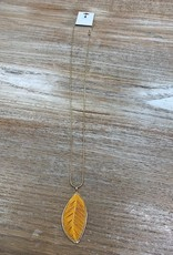 Jewelry Long Gold Necklace w/ Mustard Leaf