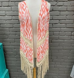 Vest Jackie Aztec Fringe Duster Vest