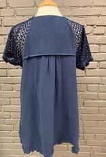 Top Sharon Navy Linen Crochet Sleeve Top