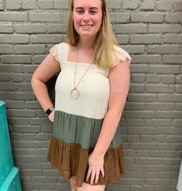 Dress Ella Colorblock Ruffle Dress