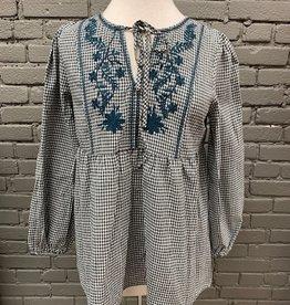 Long Sleeve Danica Check Embroidery Babydoll LS