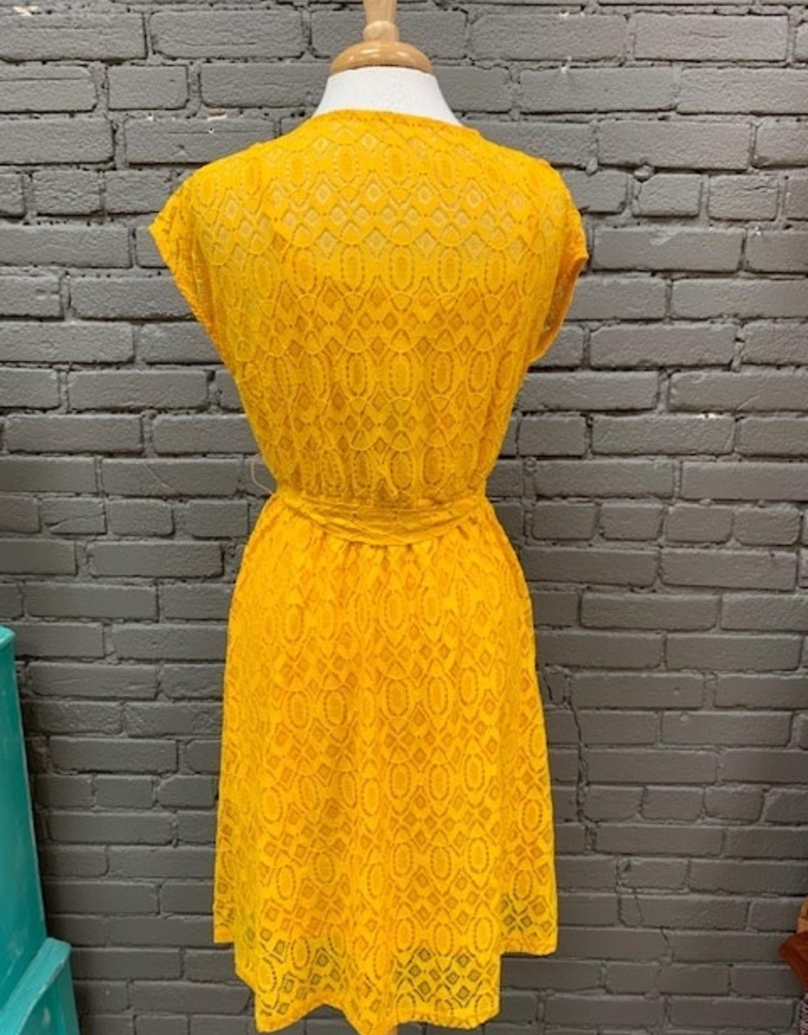 Dress Jennie Mustard Lace V-neck Dress