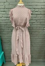 Dress Lizzie Foil Print Ruffle Midi Dress