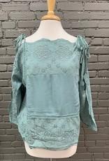Long Sleeve Ethel Embroid Crochet Cold Shoulder Top