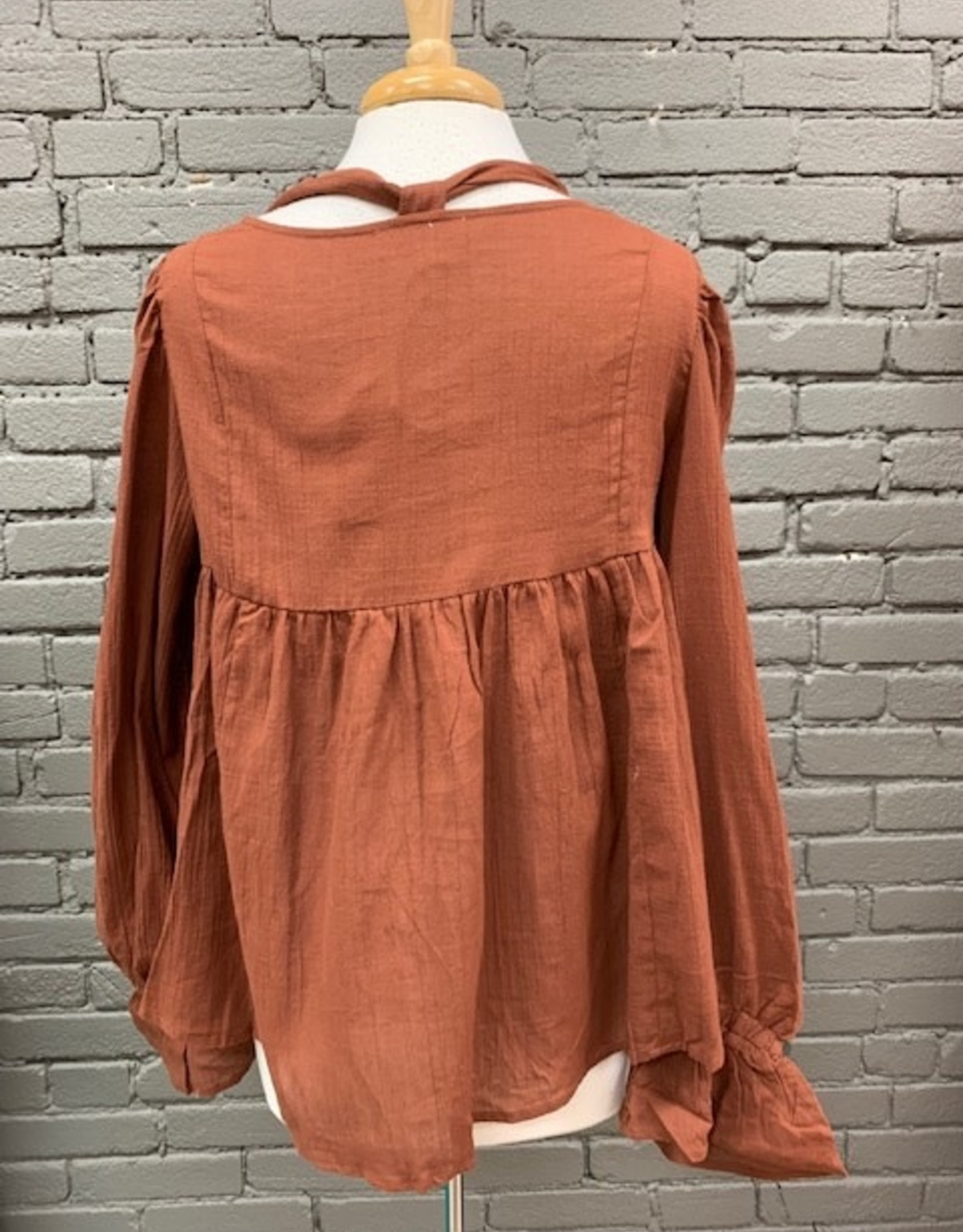 Long Sleeve Bessie Lace Up Puff LS