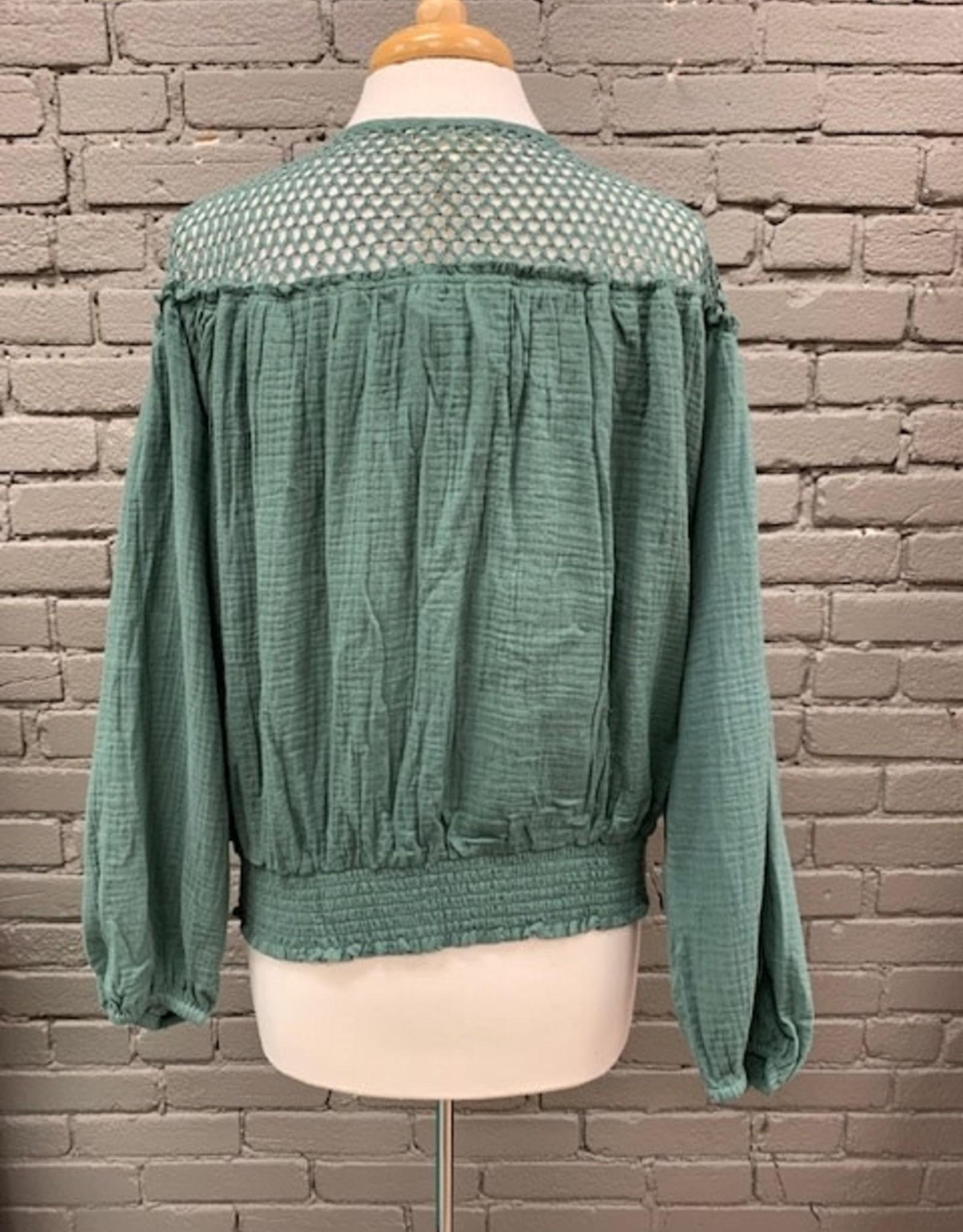 Long Sleeve Josephine Crochet Ball Button LS