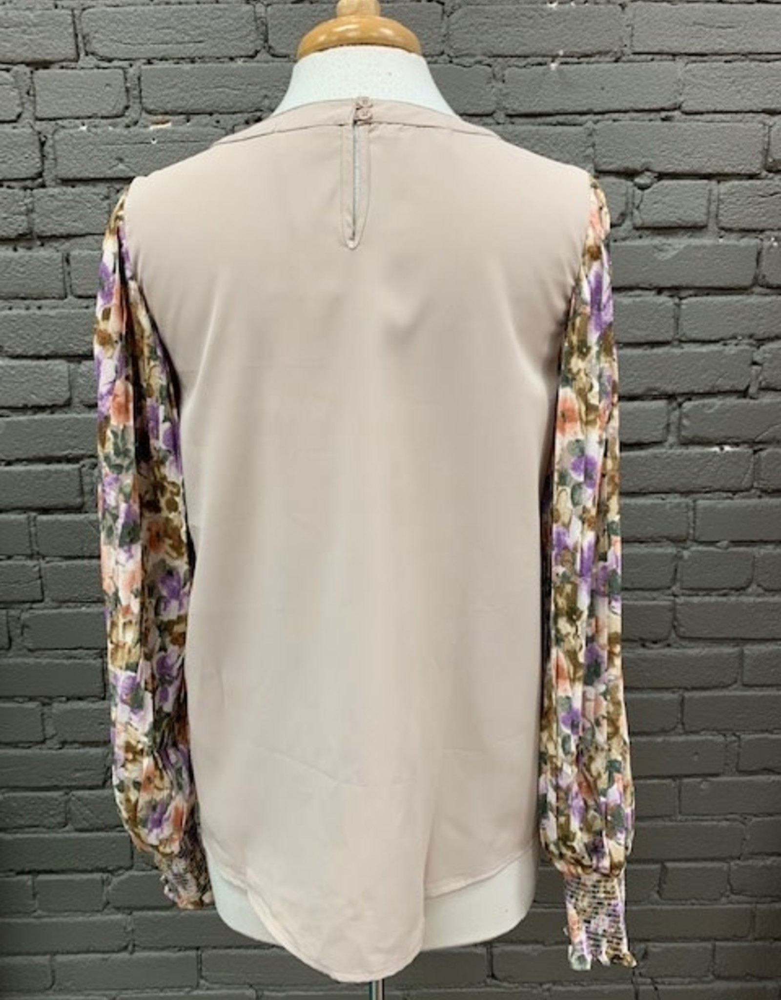 Long Sleeve Ivy Floral Sleeves Sand LS