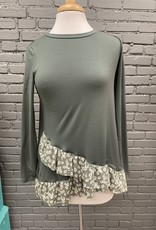 Long Sleeve Eve olive long sleeve with floral underlay