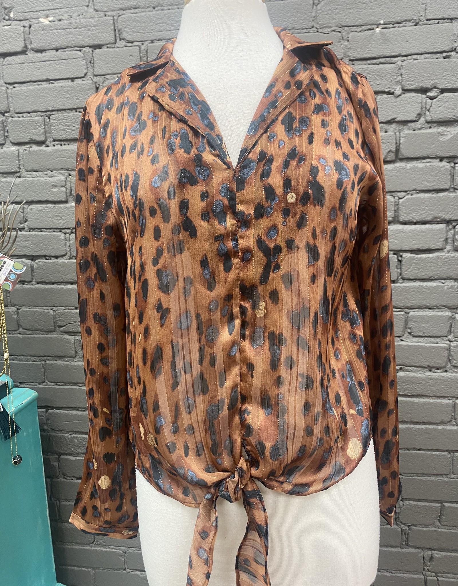 Long Sleeve June leopard tie top
