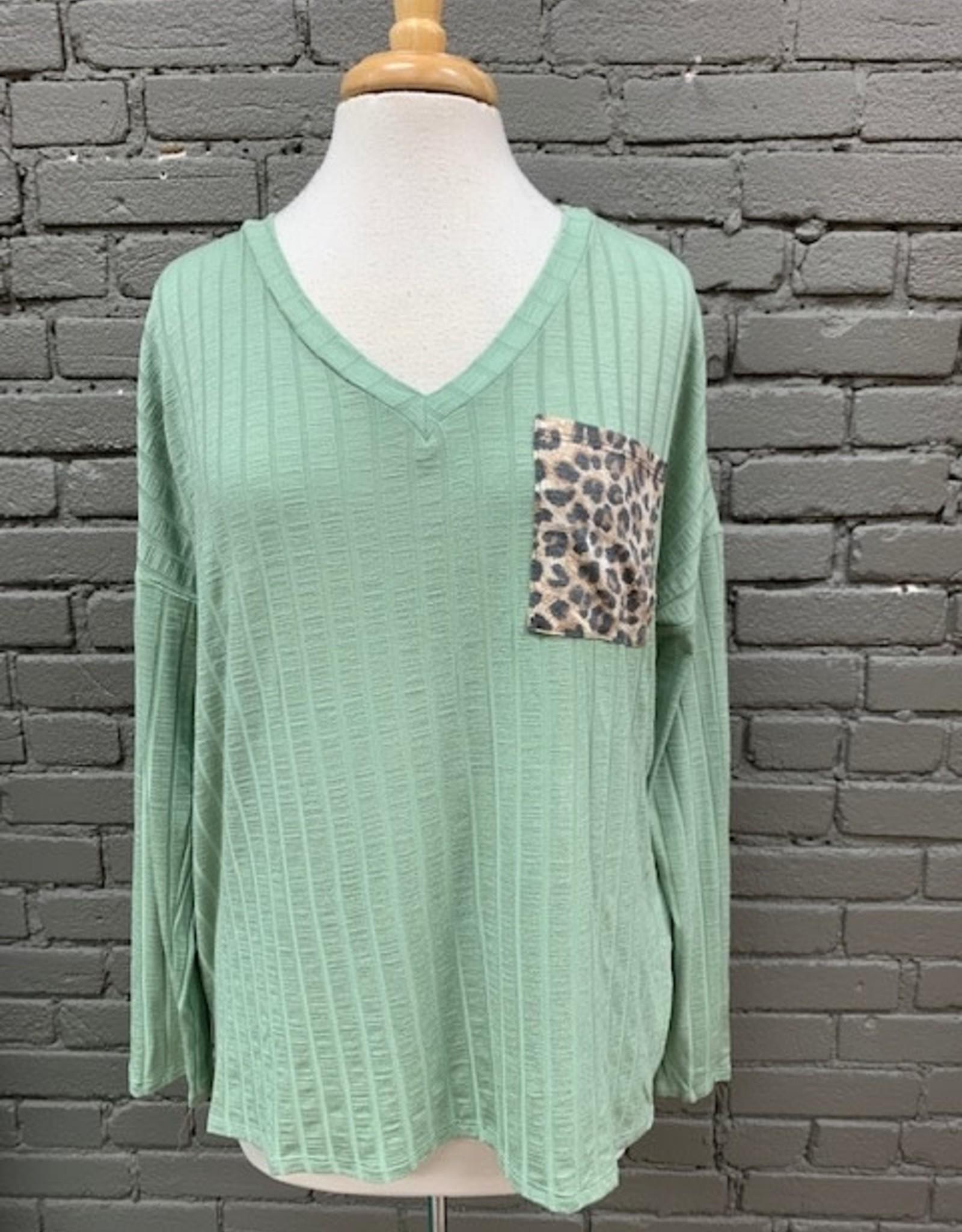 Long Sleeve Ava Ribbed LS Leopard Pocket