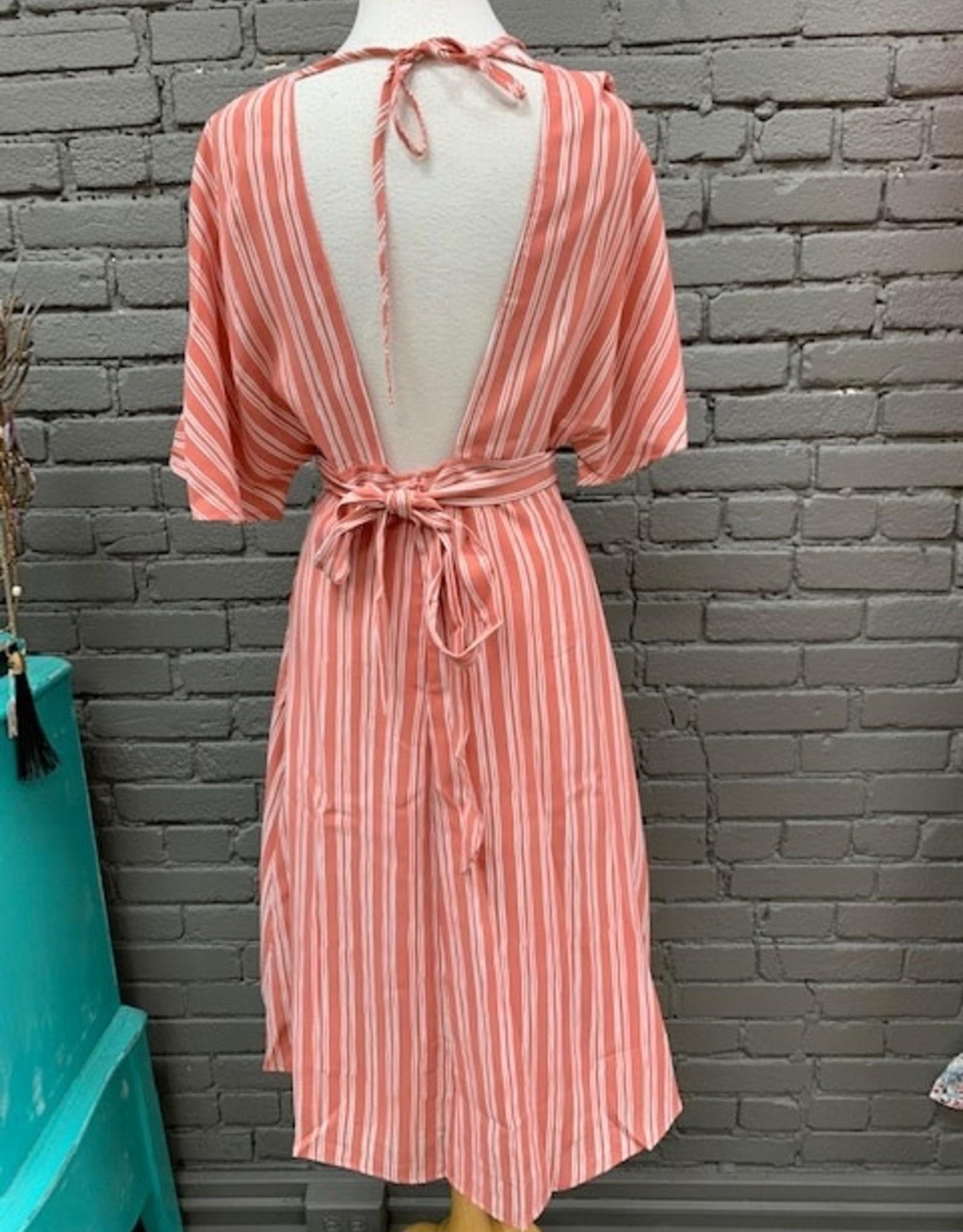 Dress Kora Striped Button Tie Dress