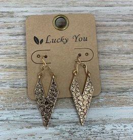 Jewelry Gold Triangles w/ Flower Stamp