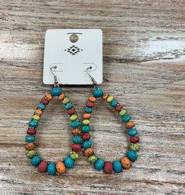 Jewelry Multi Color Stone Teardrop Earrings